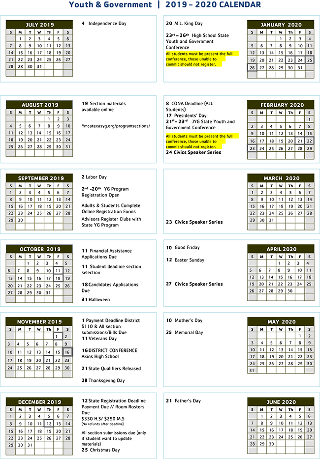 Youth & Government 2019-2020 calendar