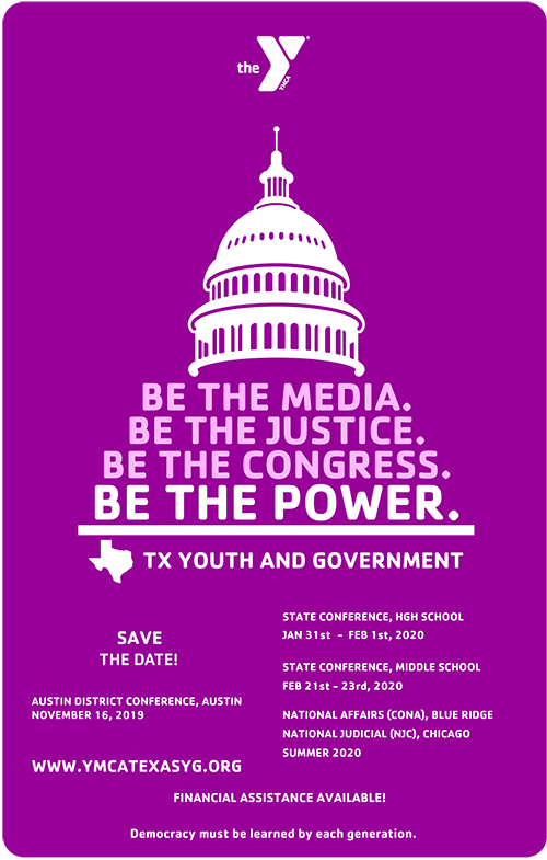 Youth & Government 2019-2020 Conference Dates Flyer