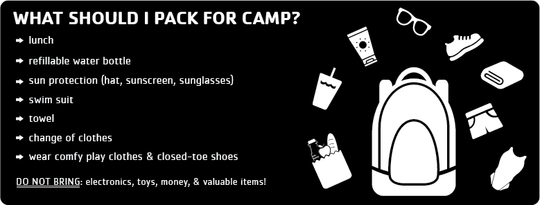 What to bring to Spring Break Camp - Backpack with items (lunch, water bottle, sunscreen, closed-toe shoes, towel, swimsuit)