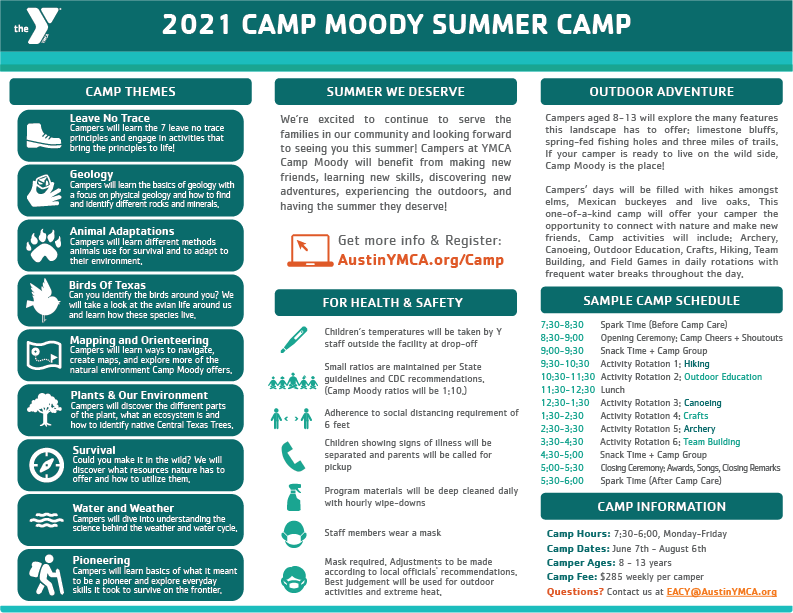 Summer 2021 Moody Camp Flyer Trifold