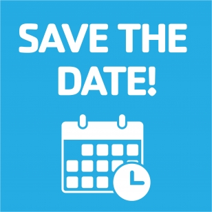 """Text, """"Save the Date,"""" with calendar icon below."""