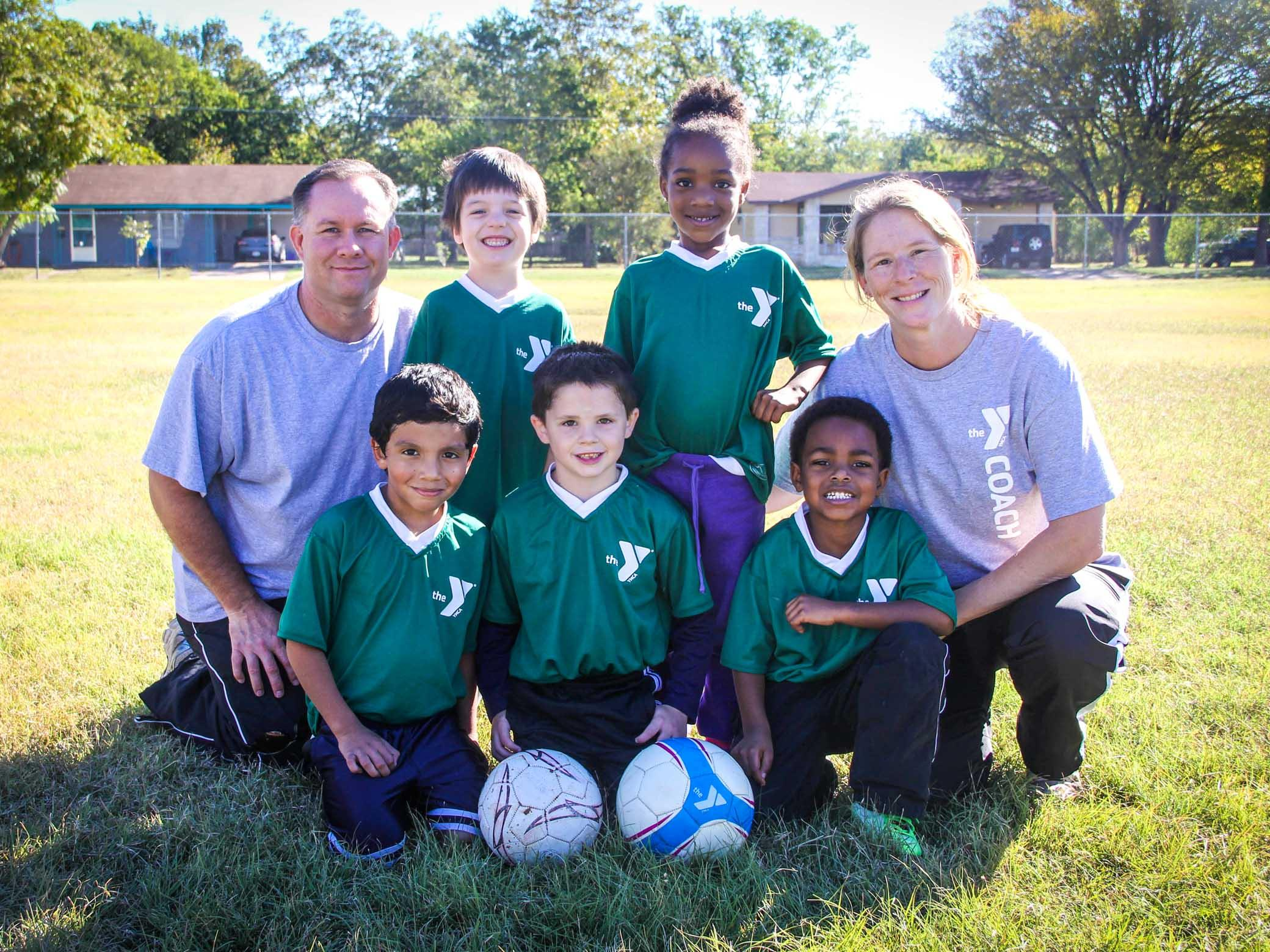 Youth soccer team poses for photo