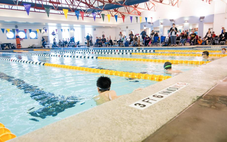 Swimmers use lanes at YMCA Hays pool